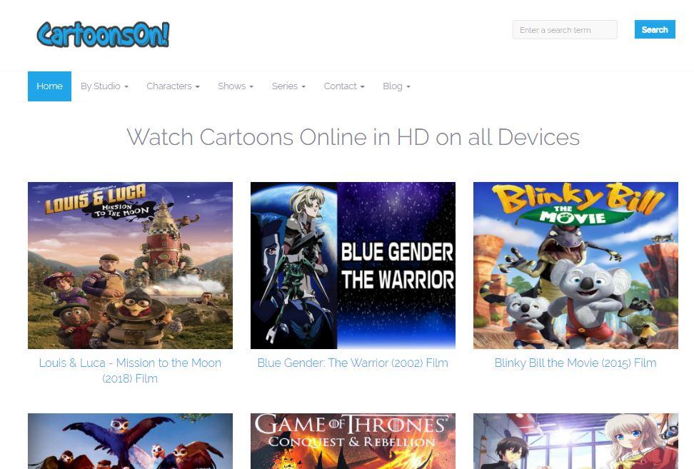 CartoonOn homepage with HD quality cartoons