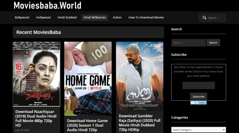 Moviesbaba.world Bollywood Tollywood Hindi dubbed movies homepage