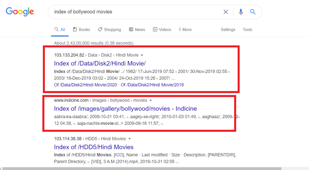 Index of Bollywood Movies Google search result