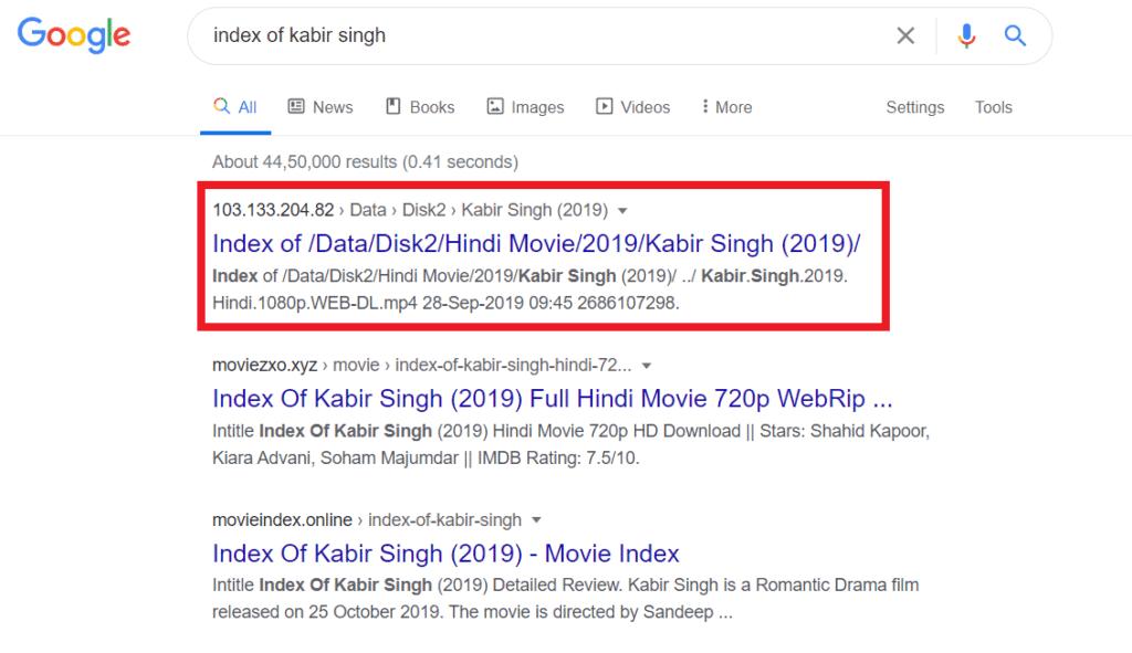 Index of Kabir Singh Google search result
