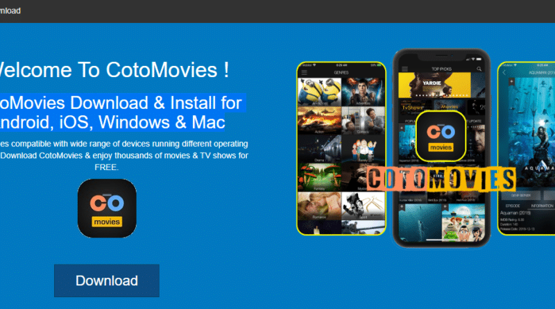 CotoMovies App and Apk for Android, iOS, Windows and Mac homepage.